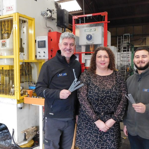 (L-R) Nigel Mason, Stainless Metal Solutions Ltd; Louise Armstrong, BCRS Business Loans and Jake Mason, Stainless Metal Solutions Ltd