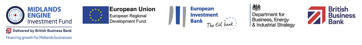 Midlands Engine Investment Fund Logo European Union Regional Development Fund Logo European Investment Bank Logo Deparment for Business, Energy and Industrial Strategy and British Business Bank logo